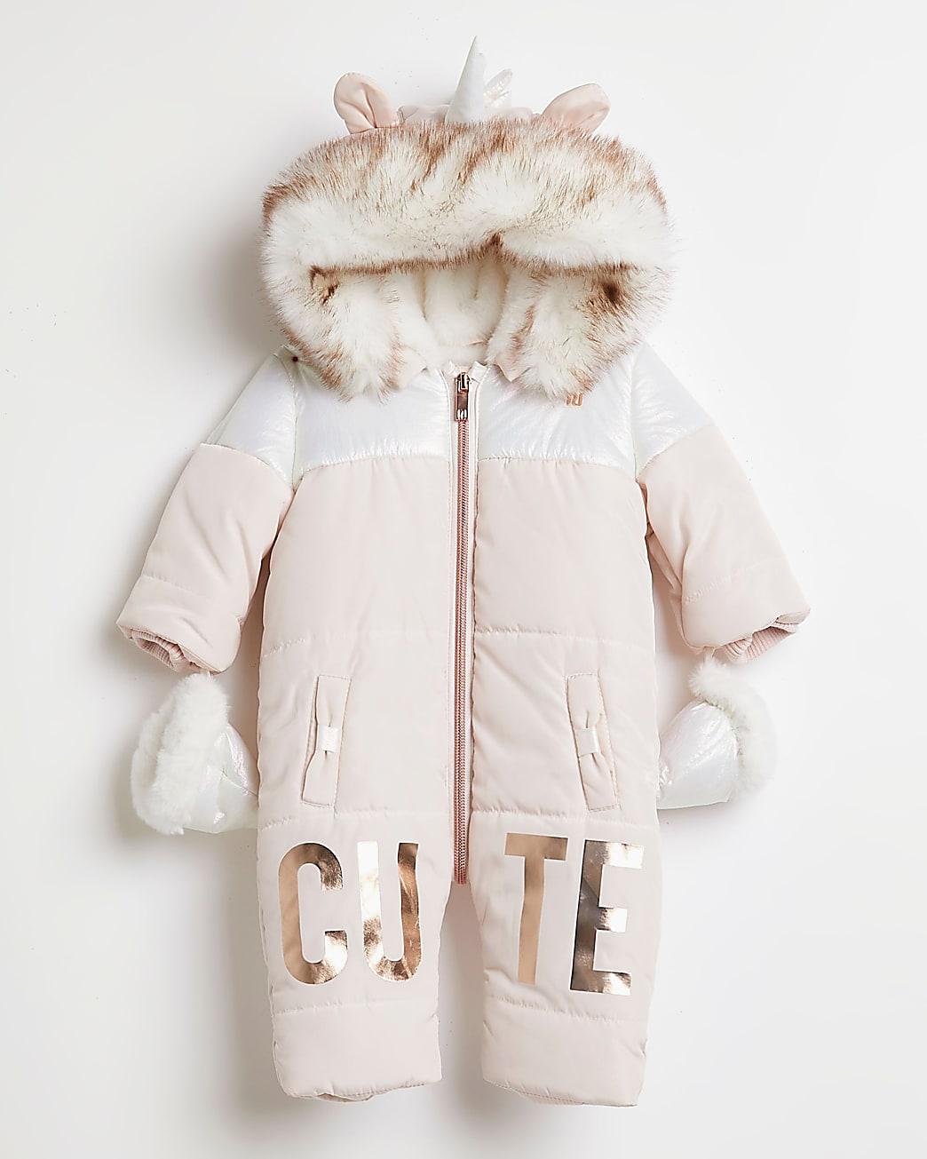Baby girls pink 'Cute' unicorn snowsuit