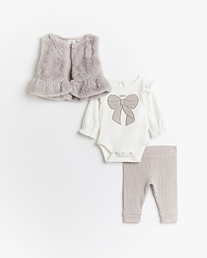Baby girls pink faux fur gilet 3 piece outfit