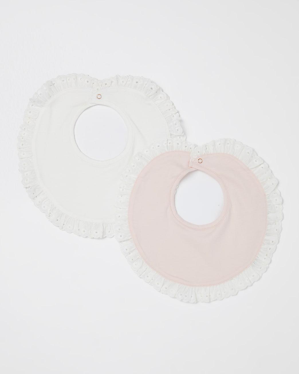 Baby girls pink frill bibs 2 pack