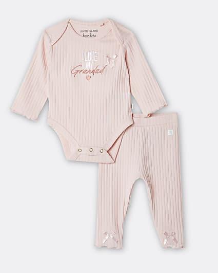 Baby girls pink 'I Love Grandad' bodysuit set
