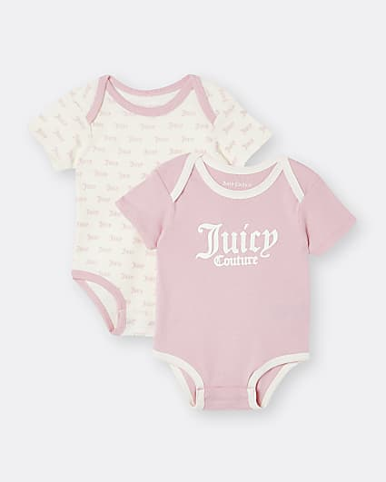 Baby girls pink Juicy Couture babygrow 2 pack