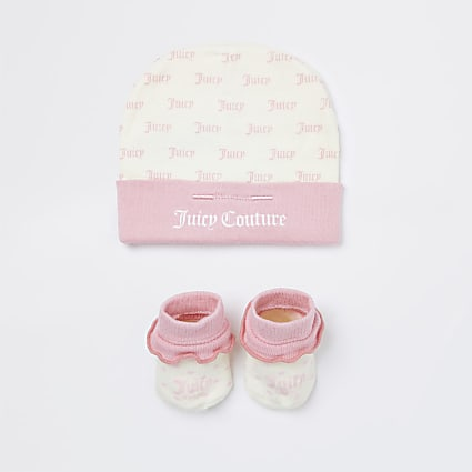 Baby girls pink Juicy Couture hat gift set