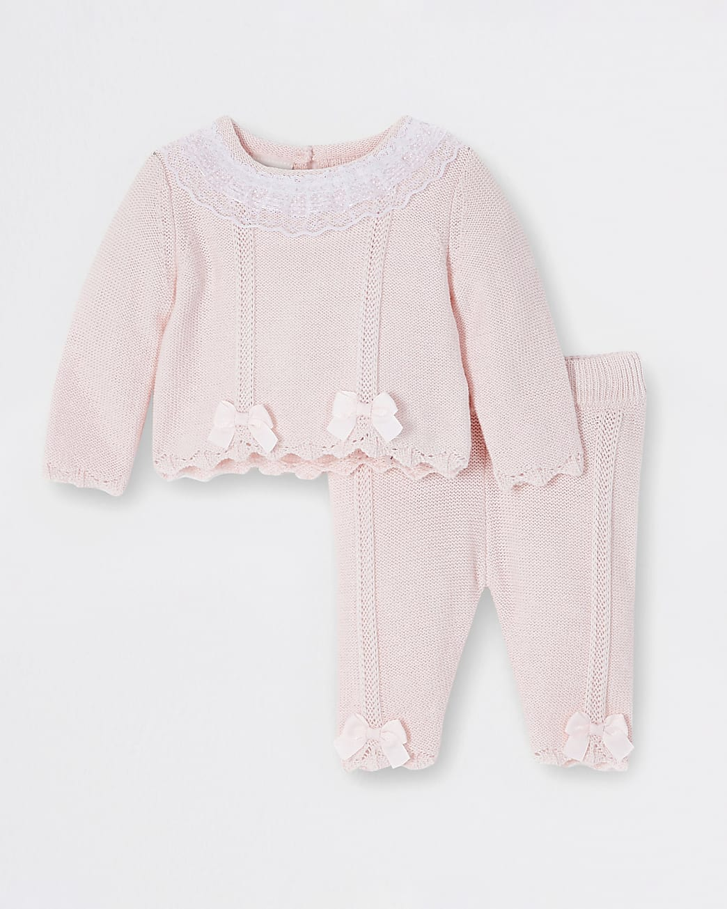 Baby girls pink lace frill neck jumper outfit