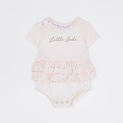 Baby girls pink 'Little Babe' frill babygrow