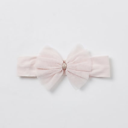 Baby girls pink mesh bow headband