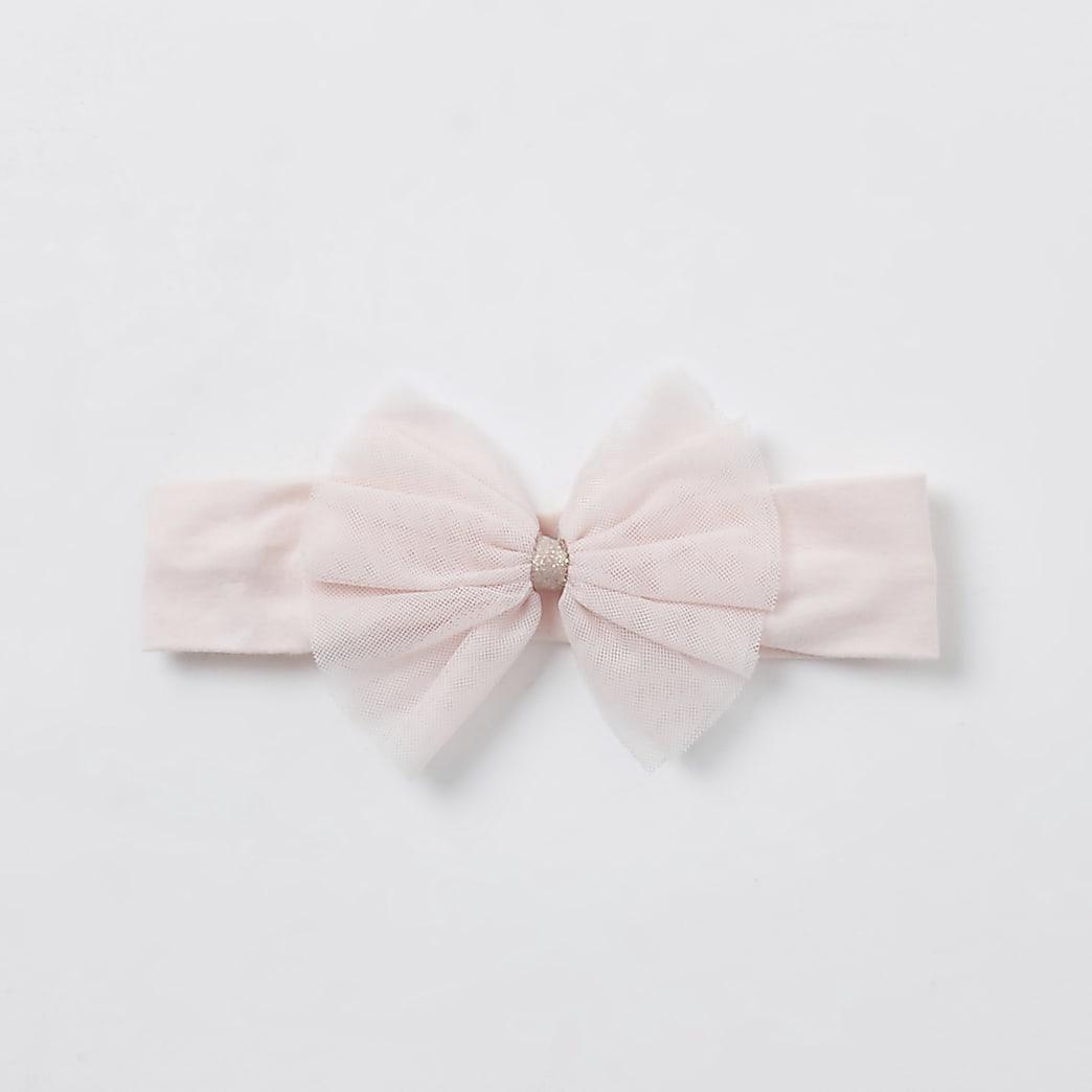 Baby girls pink mesh bow headband