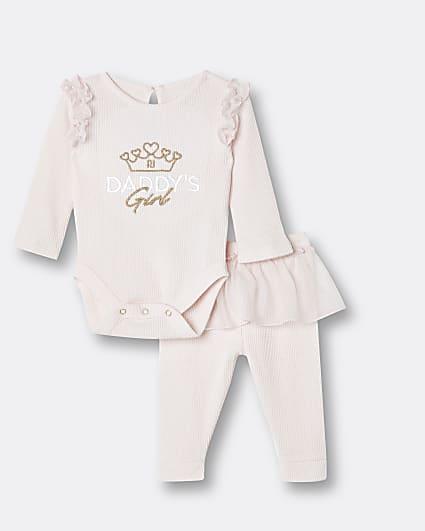 Baby girls pink mesh peplum outfit