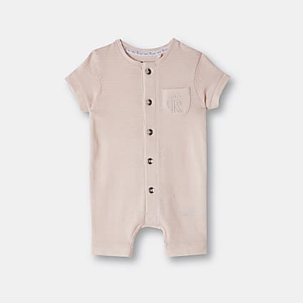 Baby girls pink organic button front romper