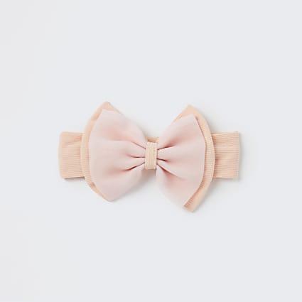 Baby girls pink organza bow headband