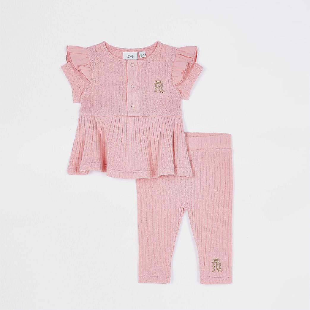 Baby girls pink peplum legging set