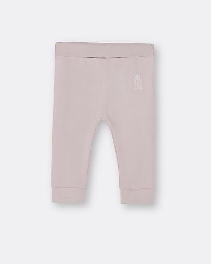 Baby girls pink RI embroidered leggings