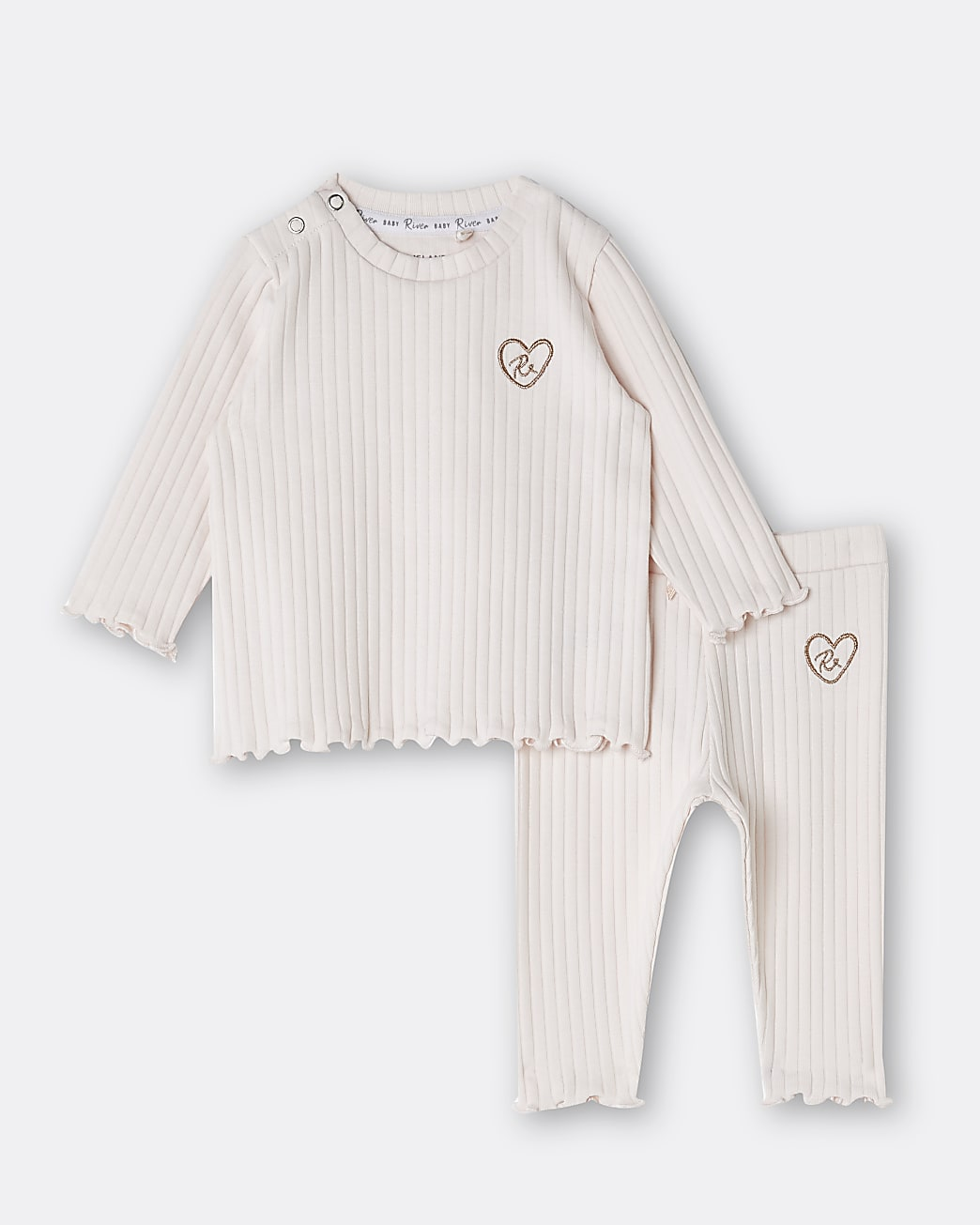 Baby girls pink RI rib top and legging outfit