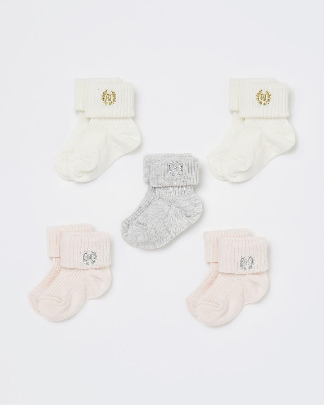 Baby girls pink RI socks 5 pack