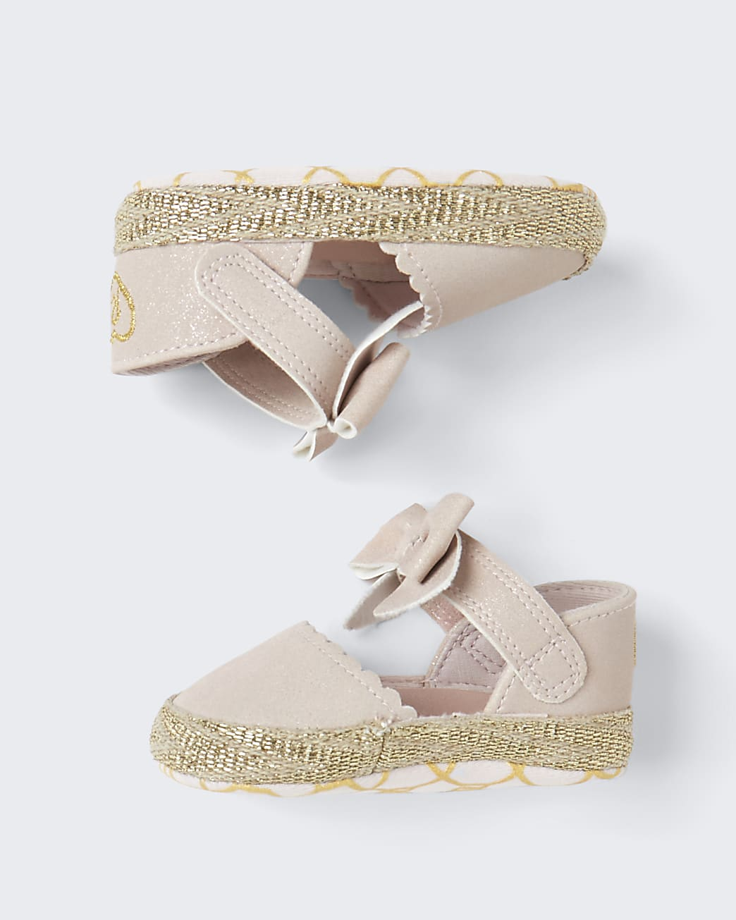 Baby girls pink sparkly bow shoes