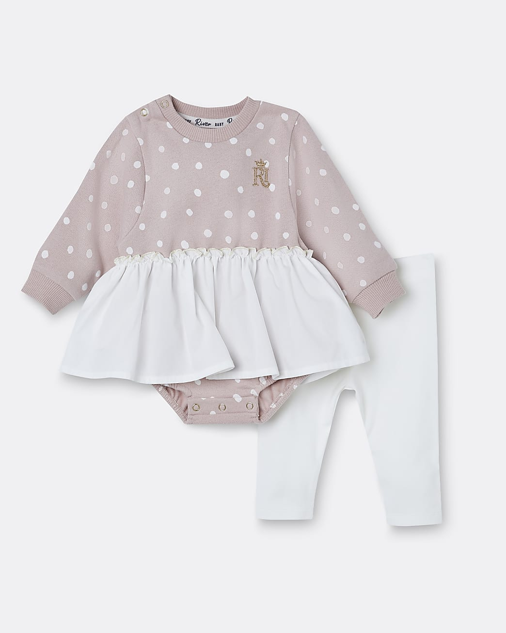 Baby girls pink spot print babygrow outfit