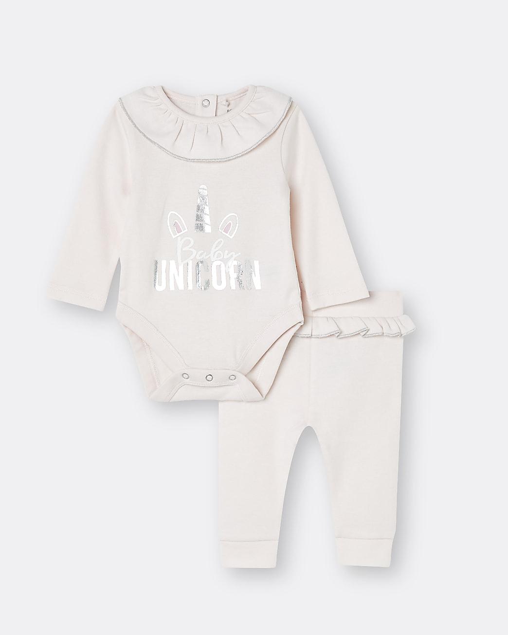 Baby girls pink unicorn babygrow 2 piece set