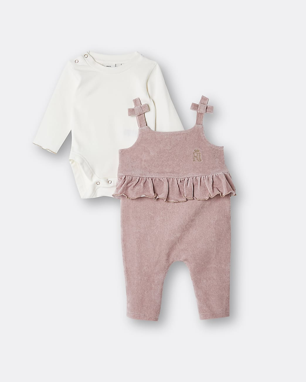Baby girls pink velour frill dungaree outfit
