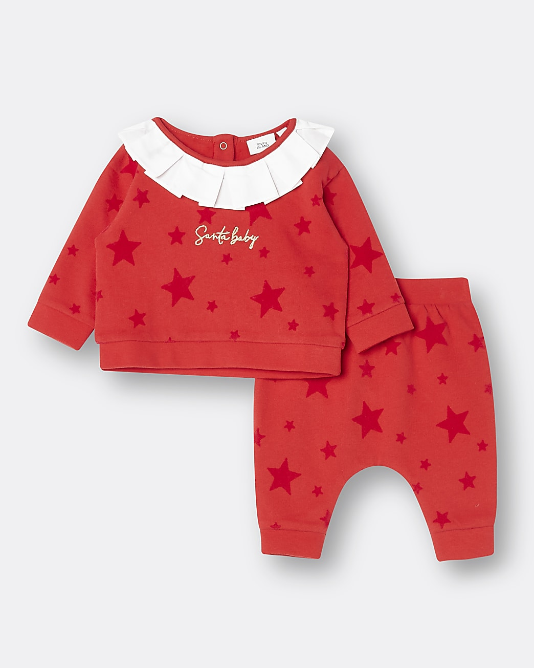 Baby girls red 'Santa Baby' star print outfit