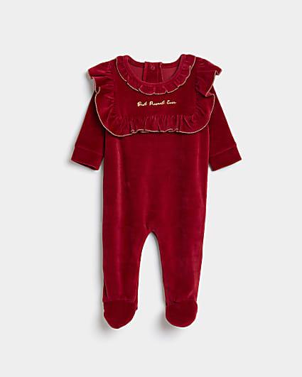 Baby girls red velour frill bodysuit