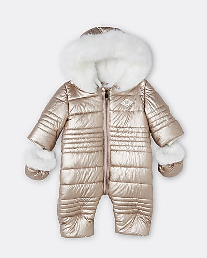 Baby girls rose gold quilted snowsuit