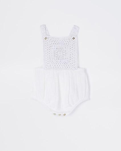 Baby girls white crochet knitted romper