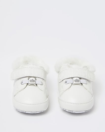Baby girls white faux fur trainers
