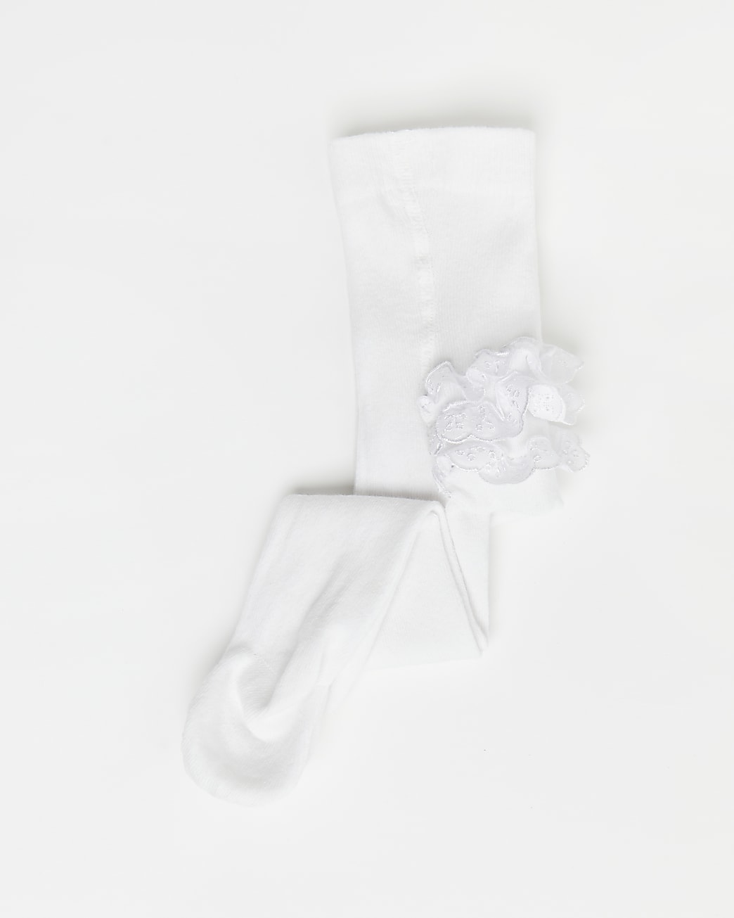 Baby girls white frill tights