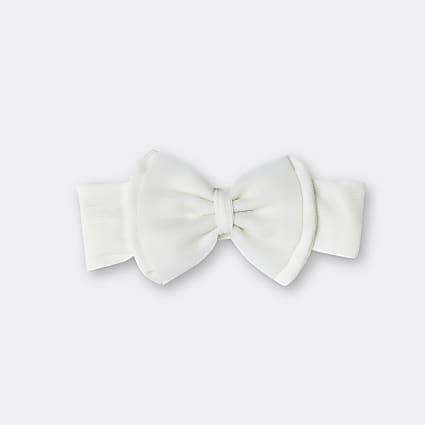 Baby girls white organza bow headband