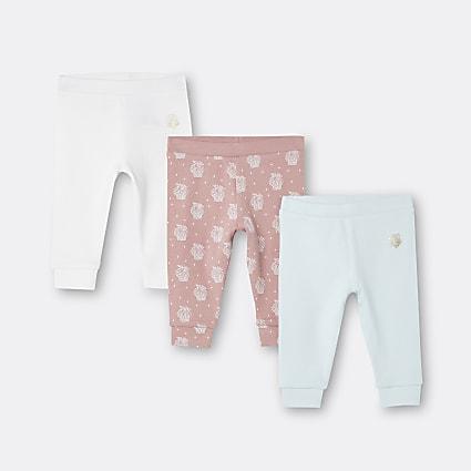 Baby girls white shell print leggings 3 pack