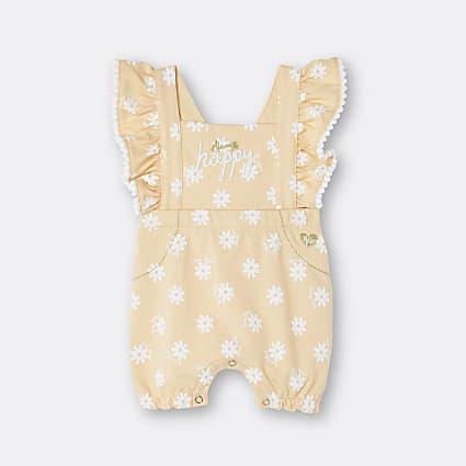 Baby girls yellow frill daisy dungarees