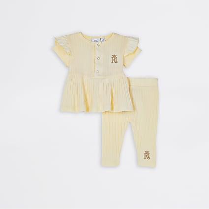 Baby girls yellow peplum top and leggings set