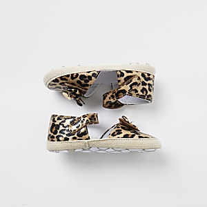 Baby gold leopard bow espadrille sandals