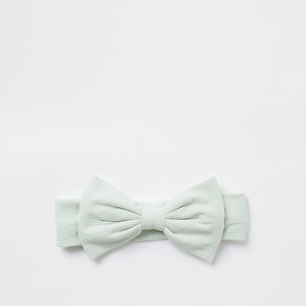 Baby green bow headband