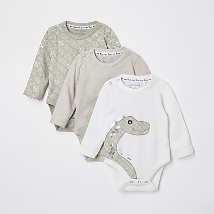 Baby green dino baby grows 3 pack