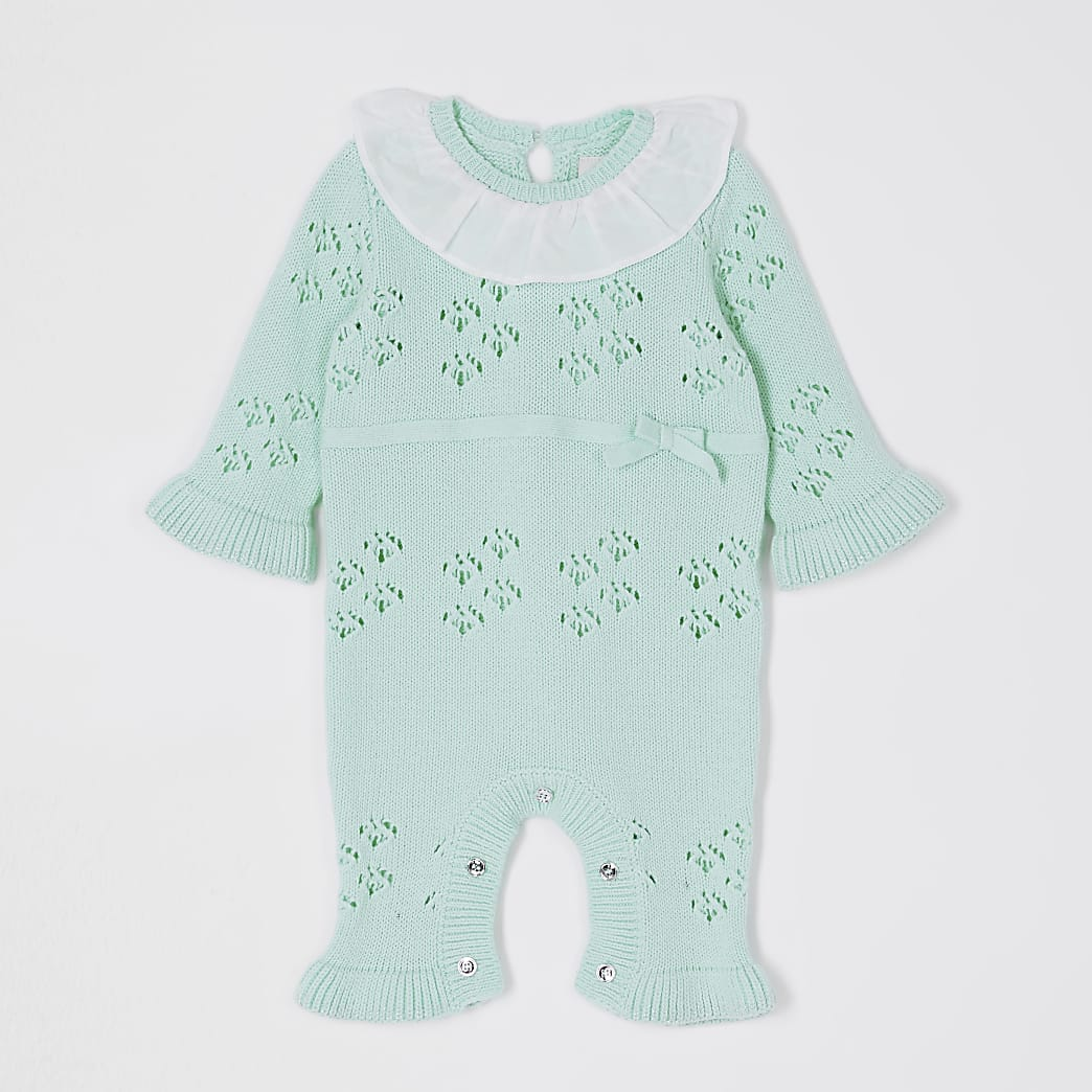 Baby green frill bow all in one