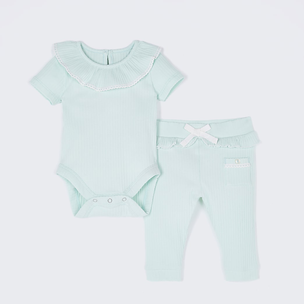 Baby green frill ribbed bodysuit outfit