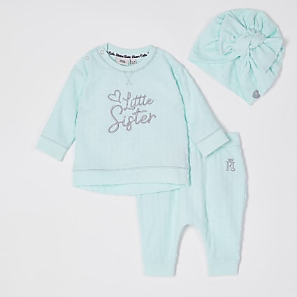 Baby green 'Little Sister' 3 piece set
