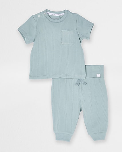 Baby green ribbed t-shirt and jogger outfit