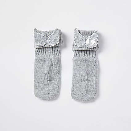 Baby grey angel winged socks