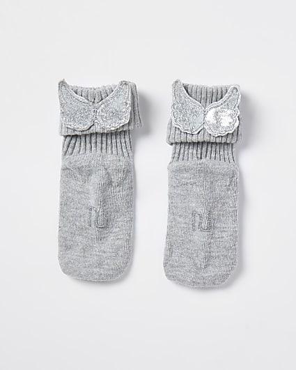 Baby grey angel winged socks