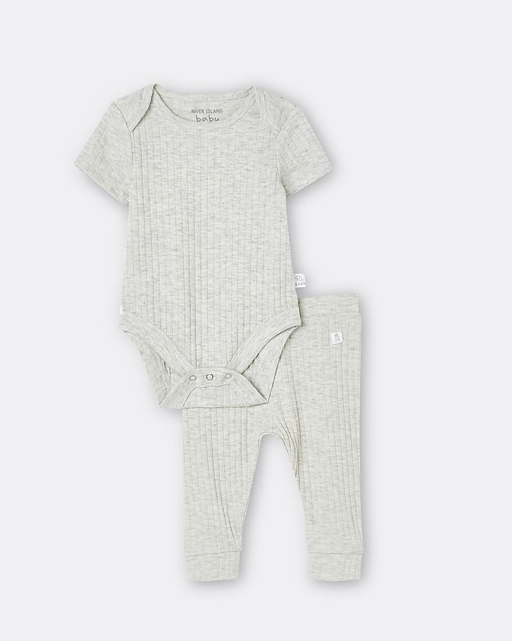 Baby grey babygrow and leggings set
