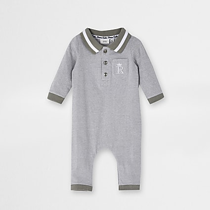 Baby grey collar all in one