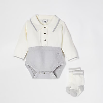 Baby grey collar knitted romper and socks