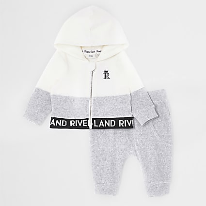 Baby grey colour block zip hoodie outfit