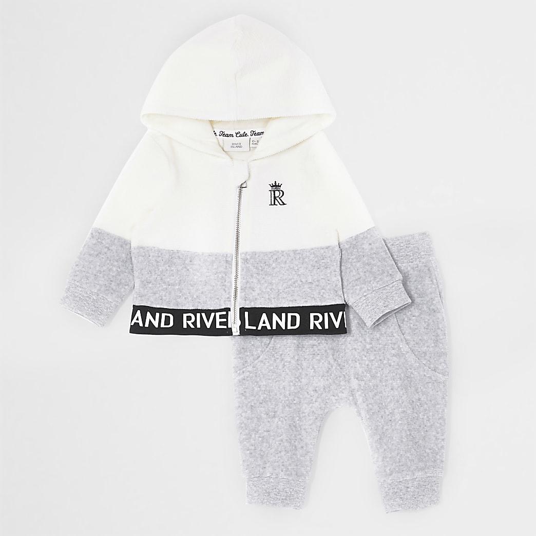 Baby grey colour block zip hoodie outfit
