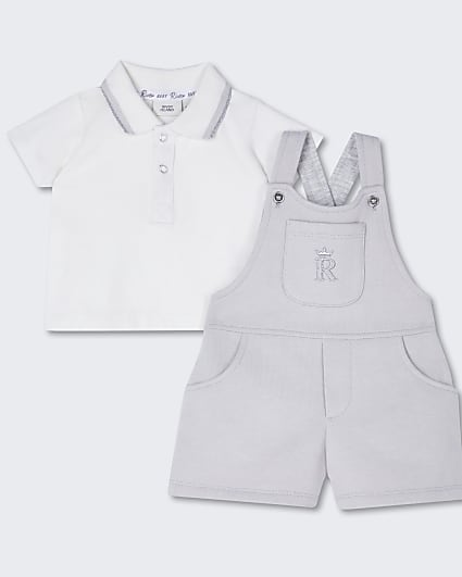 Baby grey dungaree outfit