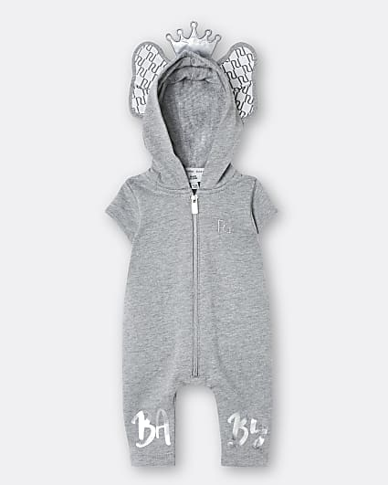 Baby grey elephant RI romper