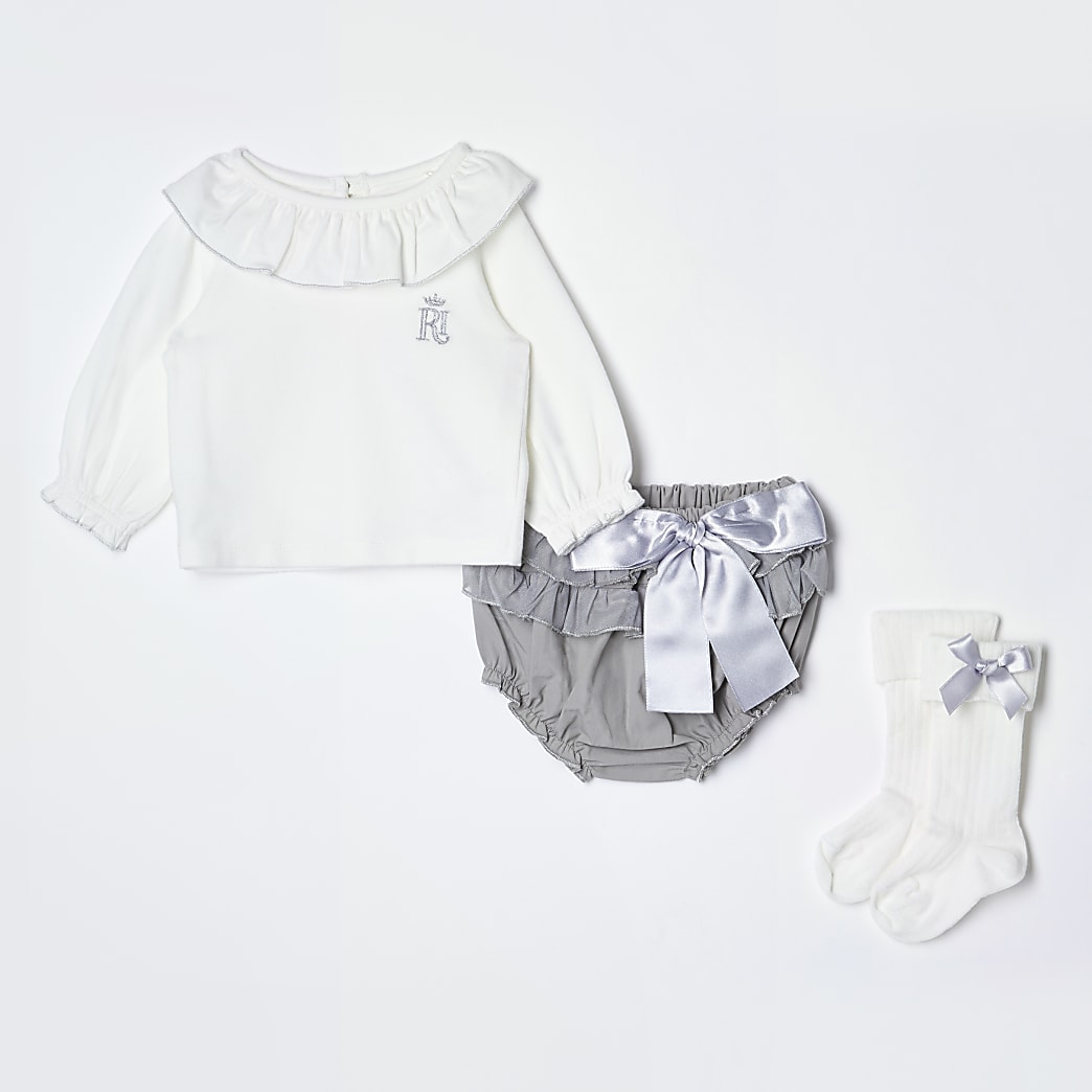 Baby grey frill bloomer 3 piece outfit