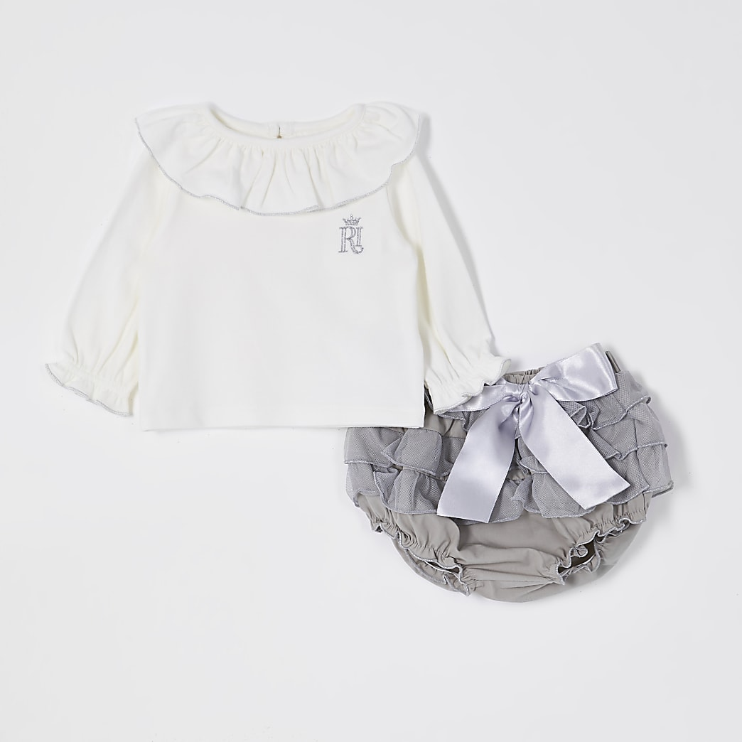 Baby grey frill bloomer outfit