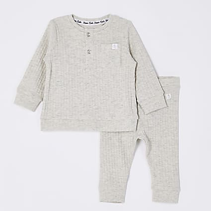 Baby grey grandad collar top outfit